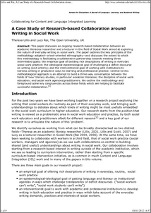 Research paper on social services