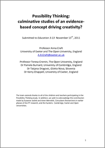 possibility thinking research This overview of research on creativity education explores recent  1977), and  more specific creative learning (jeffrey, 2006a) and possibility thinking (craft,.
