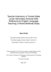 Teacher Autonomy in Turkish Lower Secondary Schools, in
