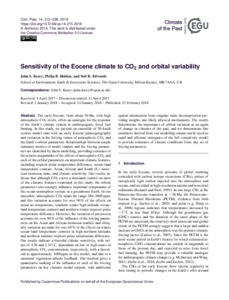 Sensitivity of the Eocene climate to CO2 and orbital