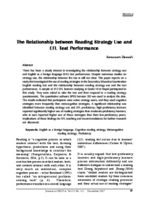 The Relationship between Reading Strategy Use and EFL Test