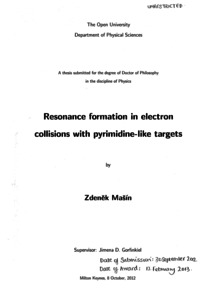Resonance Formation in Electron Collisions With Pyrimidine