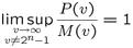 $\displaystyle \limsup_{v\to\infty \atop v\ne 2^n-1} \frac{P(v)}{M(v)}=1$