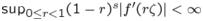 $\sup_{0 \leq r < 1} (1-r)^s |f'(r \zeta)|<\infty$