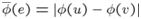 ${\overline \phi}(e)=|\phi(u)-\phi(v)|$
