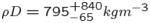 ${\rho}D = 795 _{-65}^{+840} kg m^{-3}$