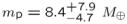 ${m}_{{\rm{p}}}={8.4}_{-4.7}^{+7.9}\ {M}_{\oplus }$