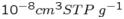 $10^{-8}cm^{3}STP\; g^{-1}$