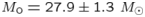 $M_{\rm o} = 27.9 \pm 1.3~M_{\odot}$