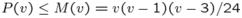 $P(v)\le M(v)=v(v-1)(v-3)/24$