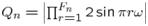 $Q_{n}=\left|\prod_{r=1}^{F_{n}}2\sin\pi r\omega\right|$