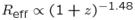 $R_{\rm {eff}}\propto (1 + z)^{-1.48}$